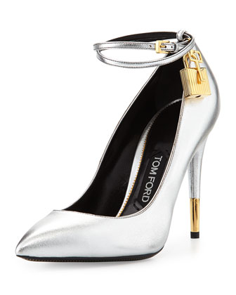 Tom Ford Metallic Ankle-Lock Pump, Silver