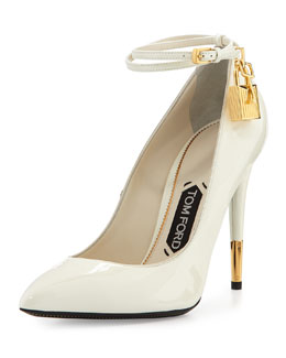 Tom Ford Patent Ankle-Lock Pump, Chalk