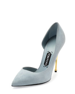 Tom Ford Suede Half d'Orsay Pump, Cloud Blue