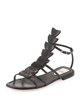 Fendi Crocodile Flat Fishbone Sandal