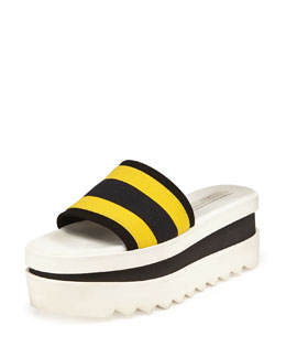 Stella McCartney Triple Platform Banded Slide, Yellow/Black