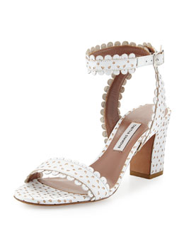Tabitha Simmons Leticia Scalloped Ankle-Wrap Sandal, White