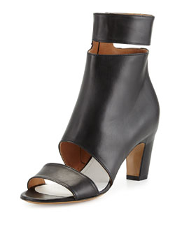 Maison Martin Margiela Cutout Leather Ankle-Wrap Bootie, Black