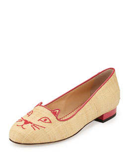 Charlotte Olympia Kitty Raffia & Patent Leather Slipper, Natural/Fiesta