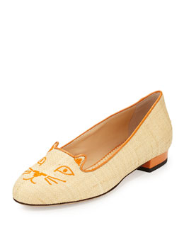 Charlotte Olympia Kitty Raffia & Patent Leather Slipper, Natural/Orange