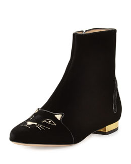 Charlotte Olympia Kitty-Face Velvet Short Boot, Black