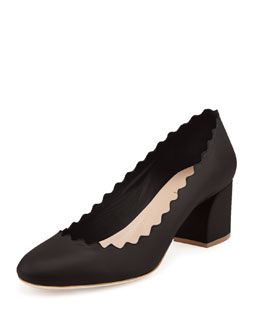 Chloe Scalloped Leather Pump, Black