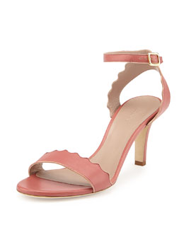 Chloe Scalloped Leather Sandal, Lipstick
