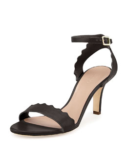 Chloe Scalloped Leather Sandal, Black