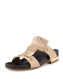 Chloe Leather Fringe Slide, Nude