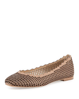Chloe Perforated Leather Ballerina Flat, Beige Rose