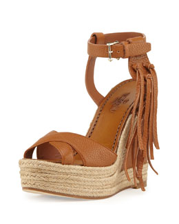 Valentino Leather Fringe Espadrille Wedge, Light Cuir