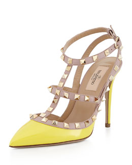 Valentino Rockstud Patent Sandal, Naples Yellow/Poudre