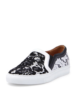 Givenchy Lace Slip-On Sneaker, Black/White