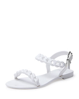 Givenchy Jelly Chain-Link Flat Sandal, White