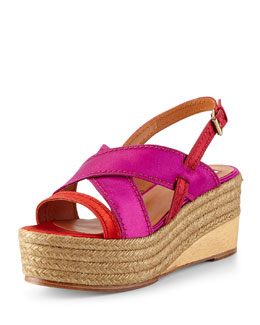 Lanvin Satin Slingback Espadrille Wedge, Red