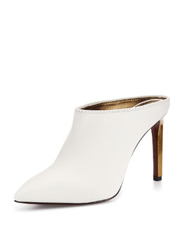 Lanvin Leather Point-Toe Mule Slide, White