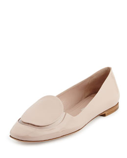 Miu Miu Patent & PVC Slip-On Loafer, Cipria