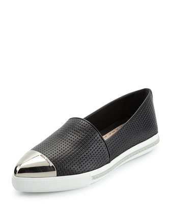 Miu Miu Embossed Leather Cap-Toe Loafer, Nero