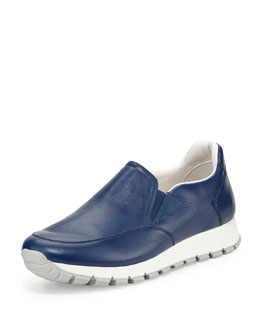 Prada Linea Rossa Leather Slip-On Sneaker, Bluette