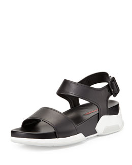Prada Linea Rossa Leather Upper Rubber Bottom Sandal, Nero/Bianco