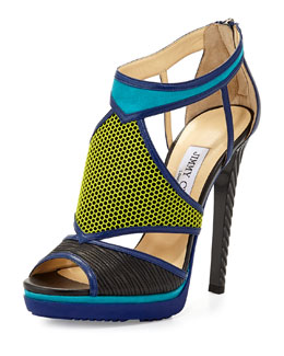Jimmy Choo Lythe Mixed-Media Platform Sandal