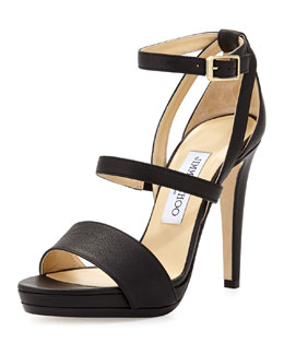 Jimmy Choo Discus Leather Triple-Band Sandal, Black