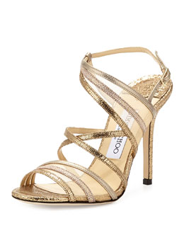 Jimmy Choo Visby Metallic Crisscross Sandal, Metallic Mix