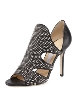 Jimmy Choo Tarine Studded Cutout Bootie, Black/Silver