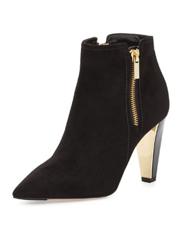 Jimmy Choo Hughie Side-Zip Suede Ankle Boot, Black