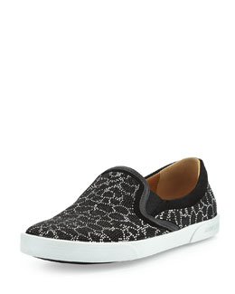 Jimmy Choo Demi Leopard Studded Skate Shoe, Black/Silver