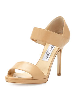 Jimmy Choo Alana Leather Double-Band Sandal, Nude