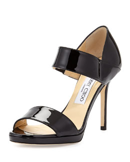 Jimmy Choo Alana Patent Double-Band Sandal, Black