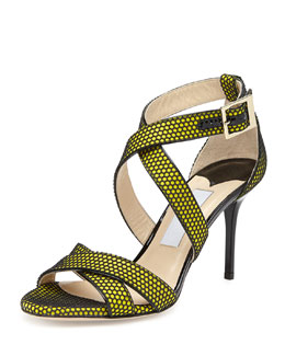 Jimmy Choo Louise Honeycomb Crisscross Sandal, Acid Yellow