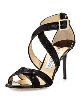 Jimmy Choo Louise Glitter Crisscross Sandal, Black
