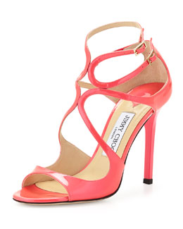 Jimmy Choo Lang Patent Strappy Sandal, Geranium