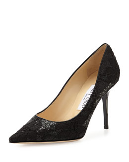 Jimmy Choo Agnes Glitter Lace Pump, Black