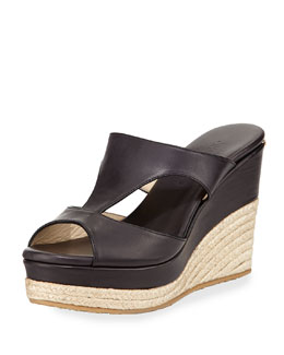 Jimmy Choo Pacane Vachetta Cutout Espadrille Wedge, Black