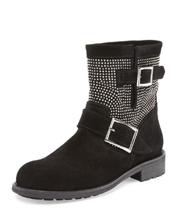 Jimmy Choo Youth Studded Suede Biker Boot, Black/Silver