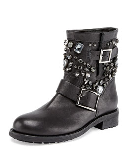 Jimmy Choo Youth Crystal-Embellished Biker Boot