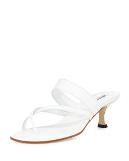 Manolo Blahnik Susa Low-Heel Thong Slide Sandal, White