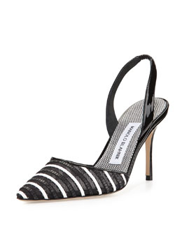 Manolo Blahnik Fabio Striped Patent Leather Slingback Pump, Black