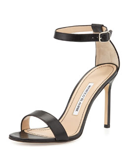 Manolo Blahnik Chaos Leather Ankle-Strap Sandal, Black