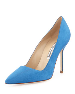 Manolo Blahnik BB Suede 105mm Pump, Cornflower Blue