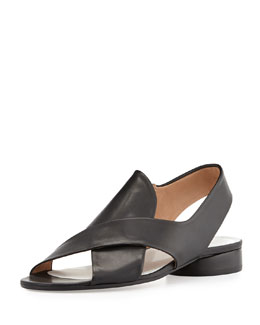 Maison Martin Margiela Leather Crisscross Slingback Sandal, Black