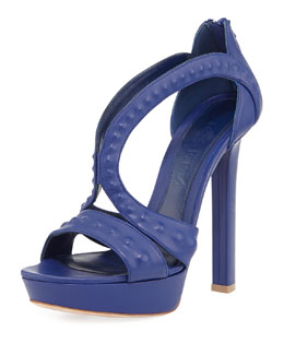 Alexander McQueen Covered-Stud Butterfly Sandal, Blue