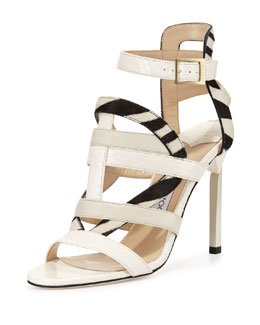 Jimmy Choo Varina Mixed-Media Strappy Sandal, White