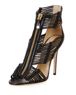Jimmy Choo Katie Strappy Zip-Front Sandal, Black