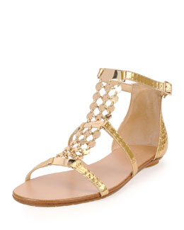 Jimmy Choo Wyatt Metallic Chain-Trim Flat Sandal, Gold