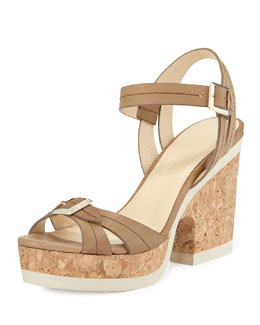Jimmy Choo Nemesis Cork-Heel Rubber-Sole Sandal